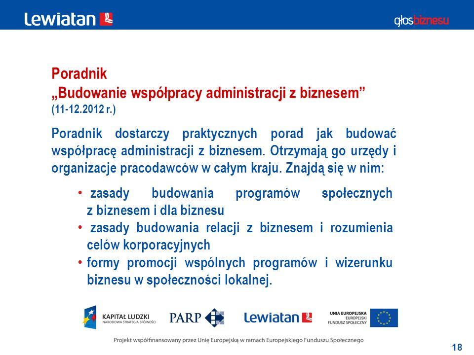 18 Poradnik Budowanie współpracy administracji z biznesem Poradnik dostarczy praktycznych porad jak budować współpracę administracji z biznesem.