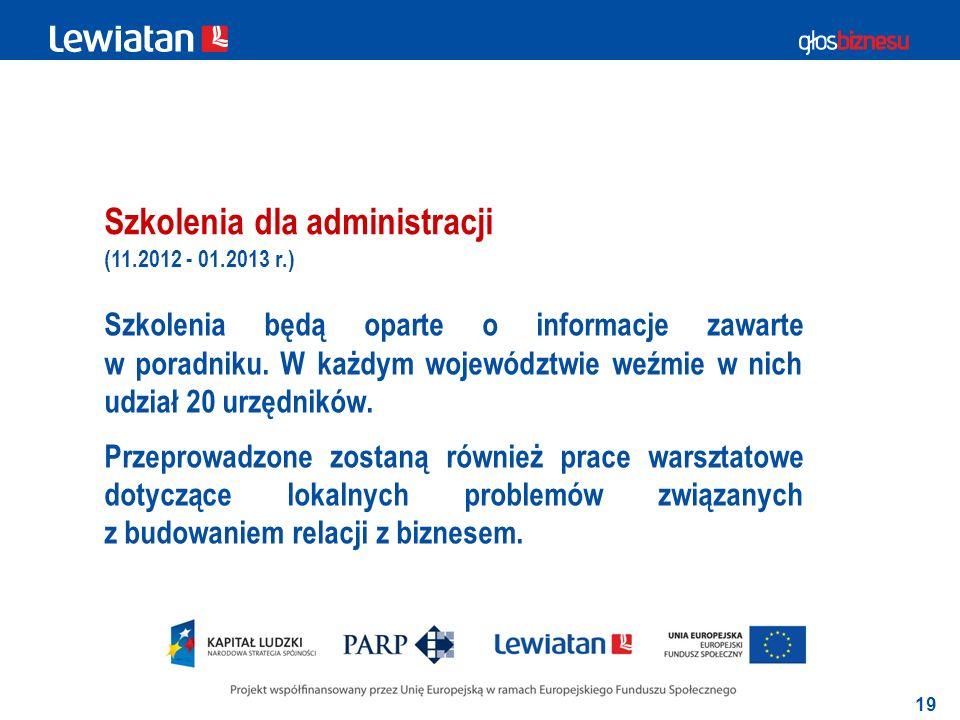 19 Szkolenia dla administracji Szkolenia będą oparte o informacje zawarte w poradniku.