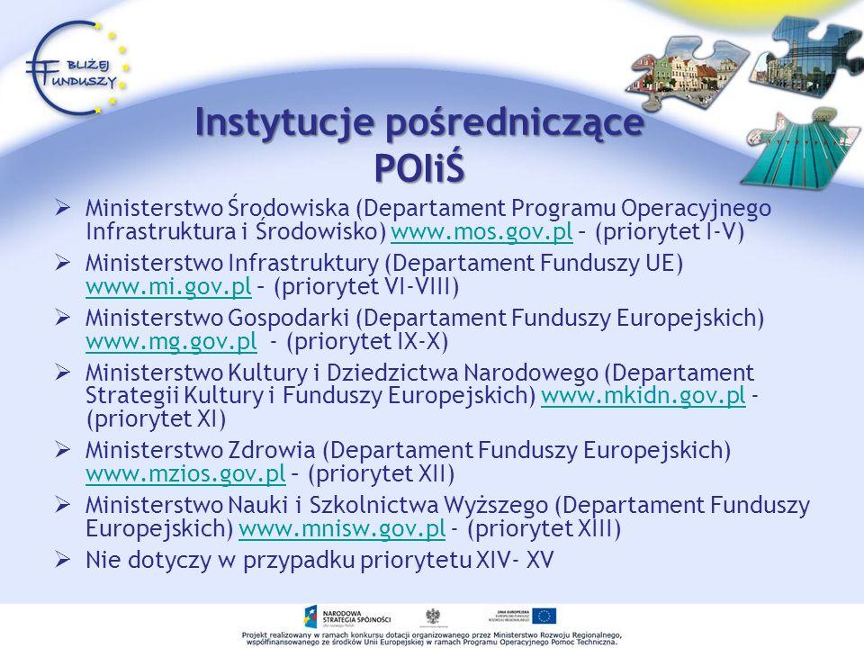Instytucje pośredniczące POIiŚ Ministerstwo Środowiska (Departament Programu Operacyjnego Infrastruktura i Środowisko) www.mos.gov.pl – (priorytet I-V