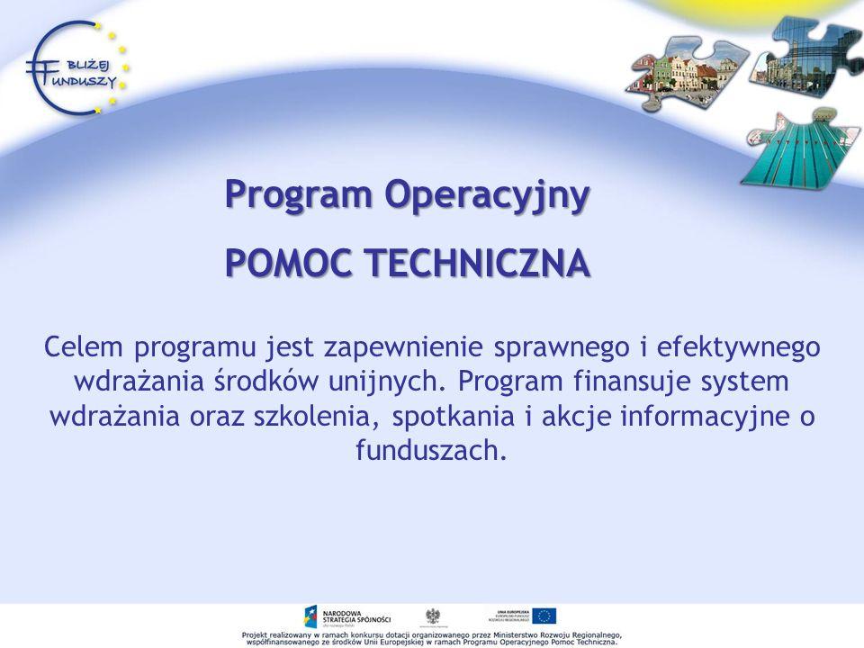 Celem programu jest zapewnienie sprawnego i efektywnego wdrażania środków unijnych. Program finansuje system wdrażania oraz szkolenia, spotkania i akc