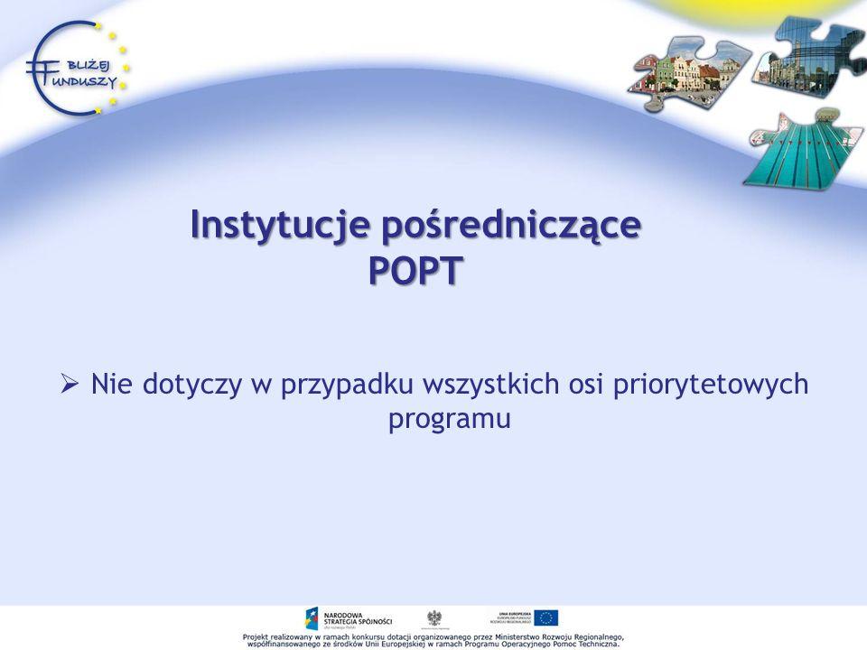 Instytucje pośredniczące POPT Nie dotyczy w przypadku wszystkich osi priorytetowych programu