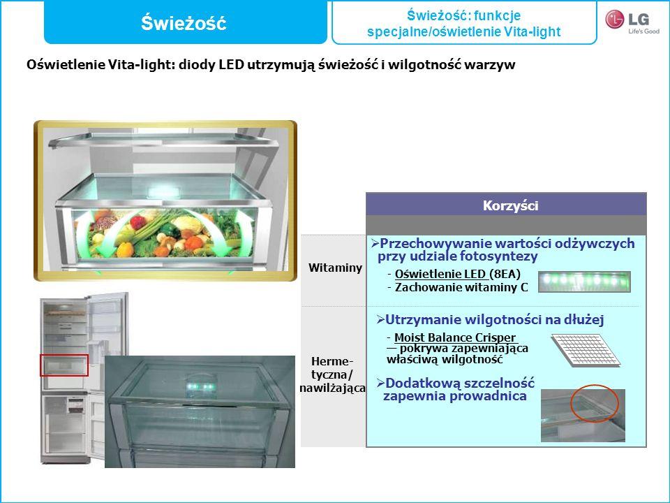 Witaminy Korzyści Przechowywanie wartości odżywczych przy udziale fotosyntezy - Oświetlenie LED (8EA) - Zachowanie witaminy C Utrzymanie wilgotności n