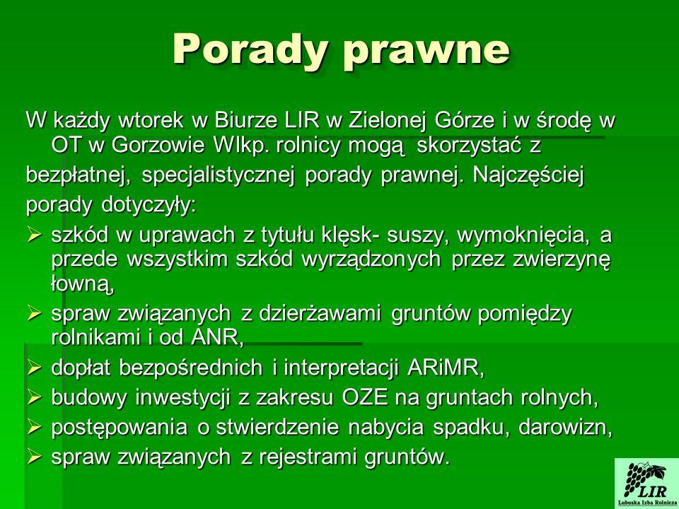 Porady prawne W każdy wtorek w Biurze LIR w Zielonej Górze i w środę w OT w Gorzowie Wlkp.