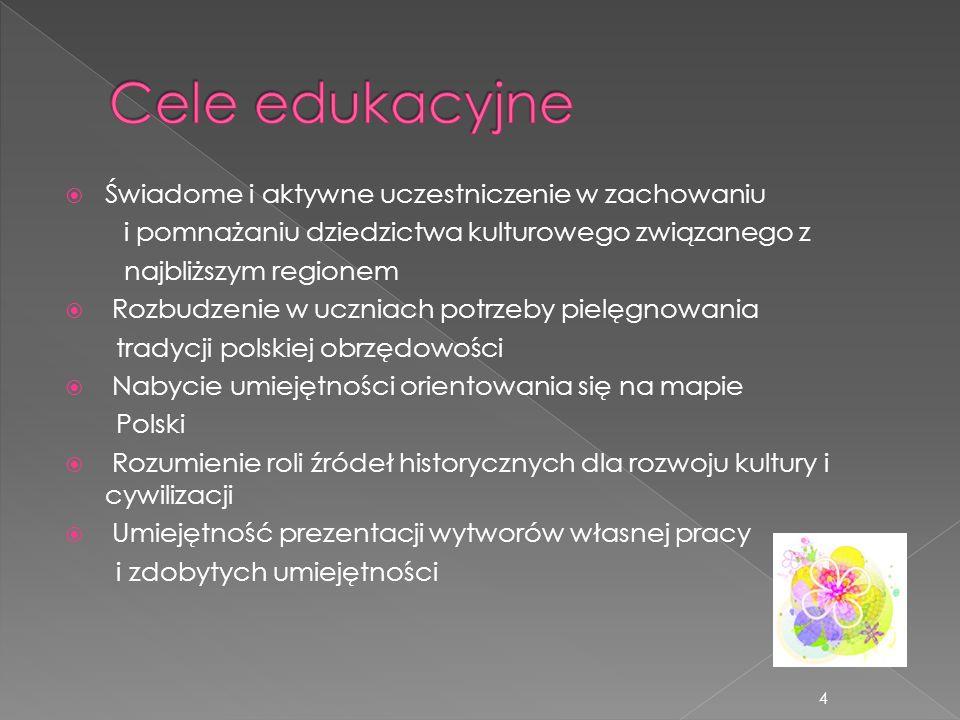 Świadome i aktywne uczestniczenie w zachowaniu i pomnażaniu dziedzictwa kulturowego związanego z najbliższym regionem Rozbudzenie w uczniach potrzeby