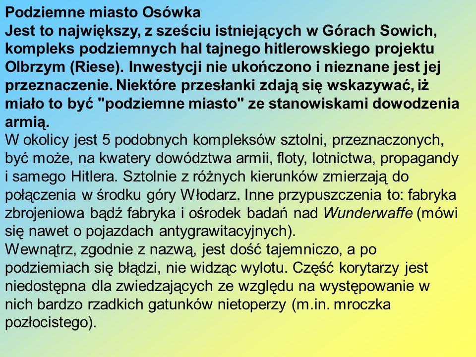 Podziemne miasto Osówka Jest to największy, z sześciu istniejących w Górach Sowich, kompleks podziemnych hal tajnego hitlerowskiego projektu Olbrzym (