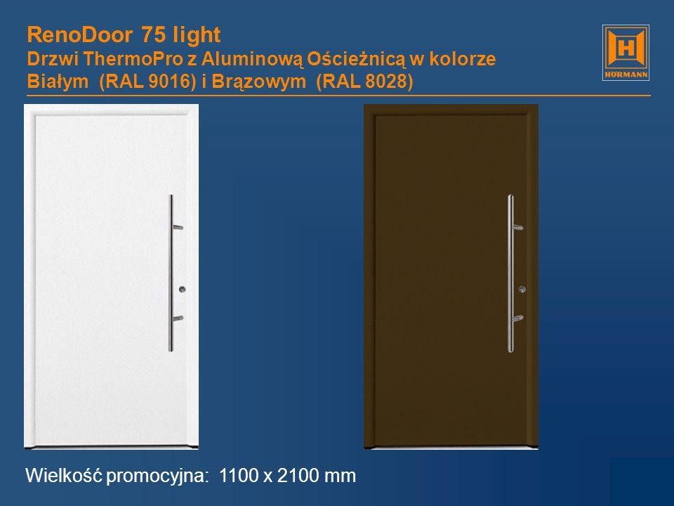 RenoDoor 75 light Drzwi ThermoPro z Aluminową Ościeżnicą w kolorze Białym (RAL 9016) i Brązowym (RAL 8028) Wielkość promocyjna: 1100 x 2100 mm