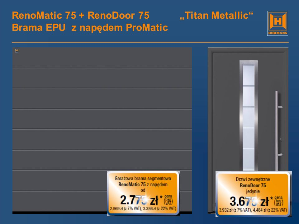 RenoMatic 75 + RenoDoor 75 Golden Oak Brama EPU z napędem ProMatic