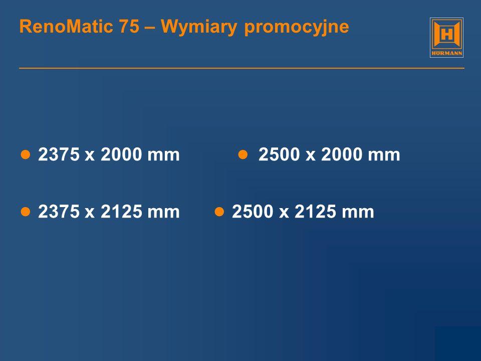 RenoMatic 75 – Wymiary promocyjne 2375 x 2000 mm 2500 x 2000 mm 2375 x 2125 mm 2500 x 2125 mm