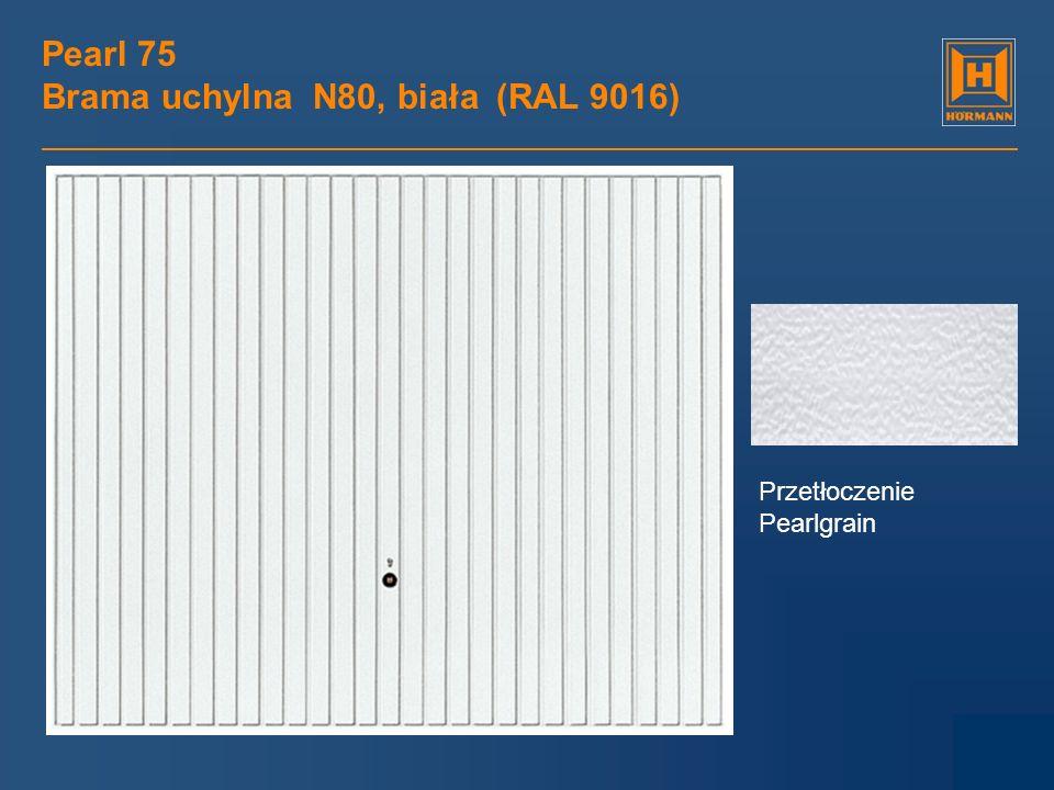 Pearl 75 Brama uchylna N80, biała (RAL 9016) Przetłoczenie Pearlgrain