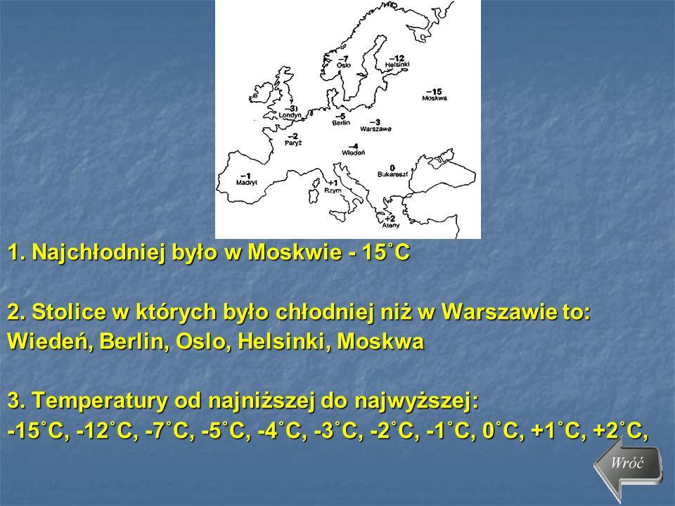 1. Najchłodniej było w Moskwie - 15˚C 2. Stolice w których było chłodniej niż w Warszawie to: Wiedeń, Berlin, Oslo, Helsinki, Moskwa 3. Temperatury od