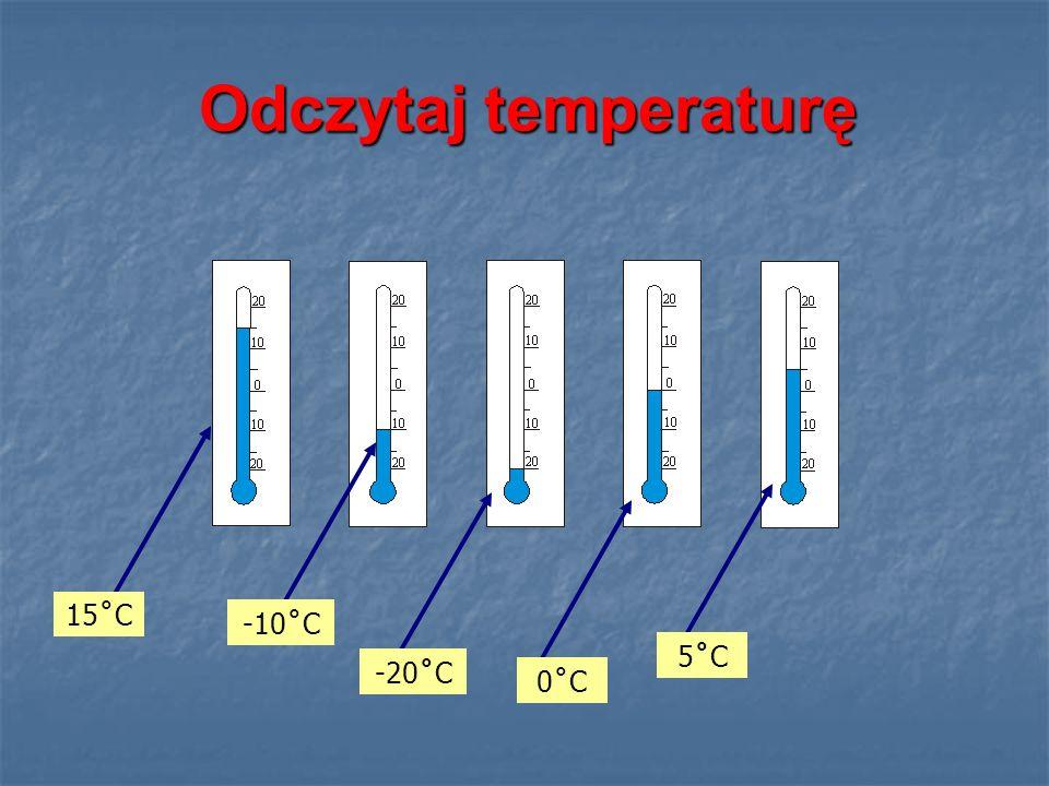Odczytaj temperaturę 15˚C -10˚C -20˚C 0˚C 5˚C5˚C