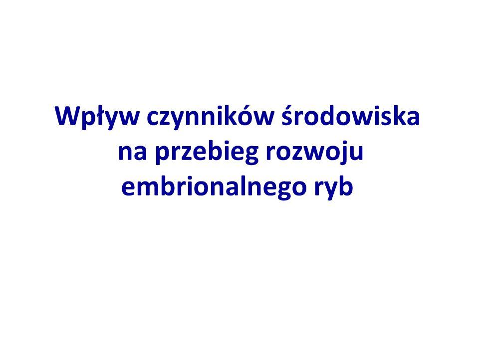 GatunekTemperatura wody [°C]Autor Karp18-22Wolny (1974) Szczupak10Opuszyński (1983) Świnka8-20Kamler in.