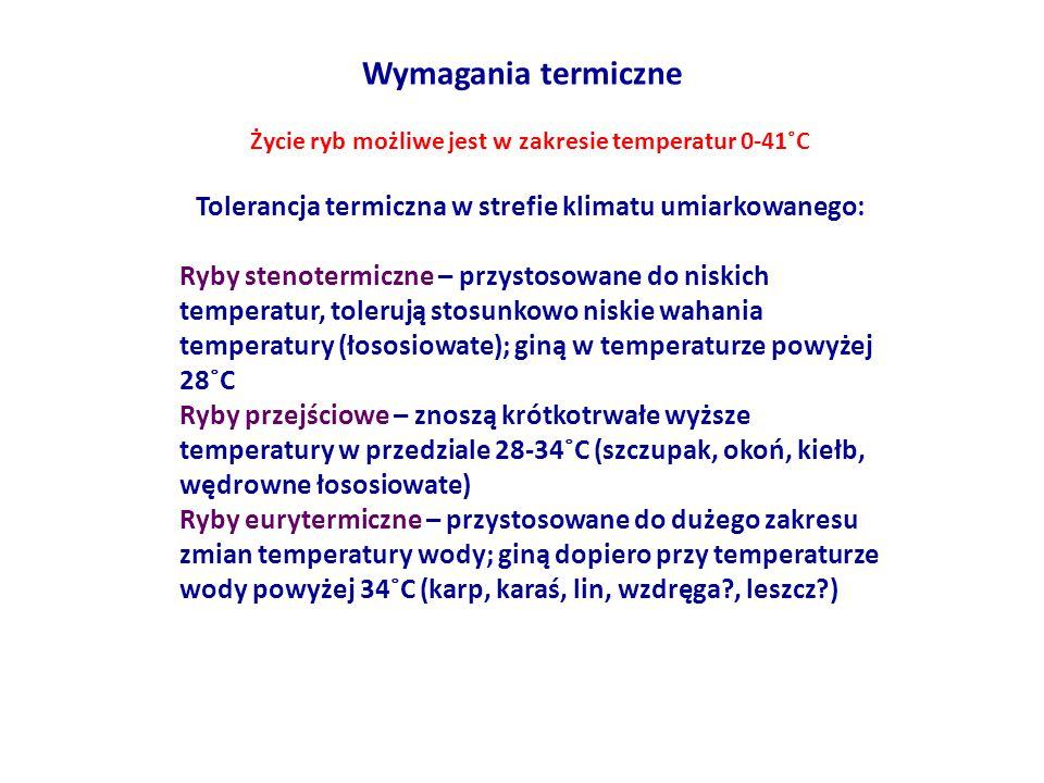Wymagania termiczne Życie ryb możliwe jest w zakresie temperatur 0-41˚C Tolerancja termiczna w strefie klimatu umiarkowanego: Ryby stenotermiczne – pr