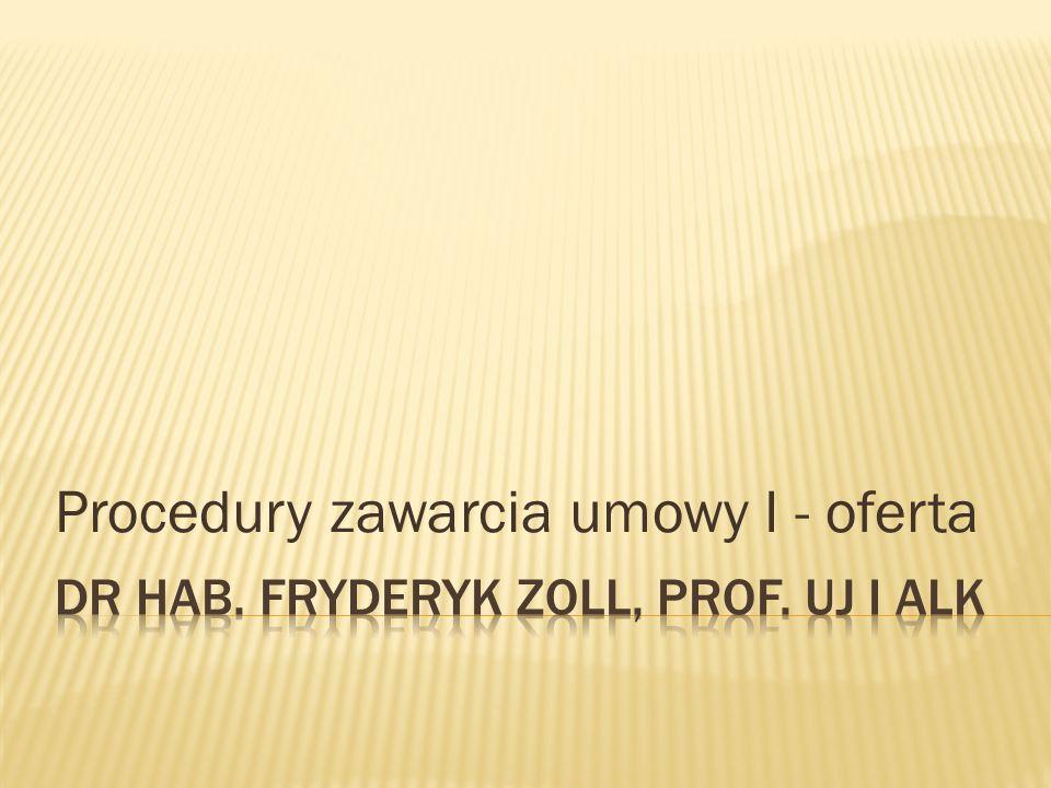Procedury zawarcia umowy I - oferta