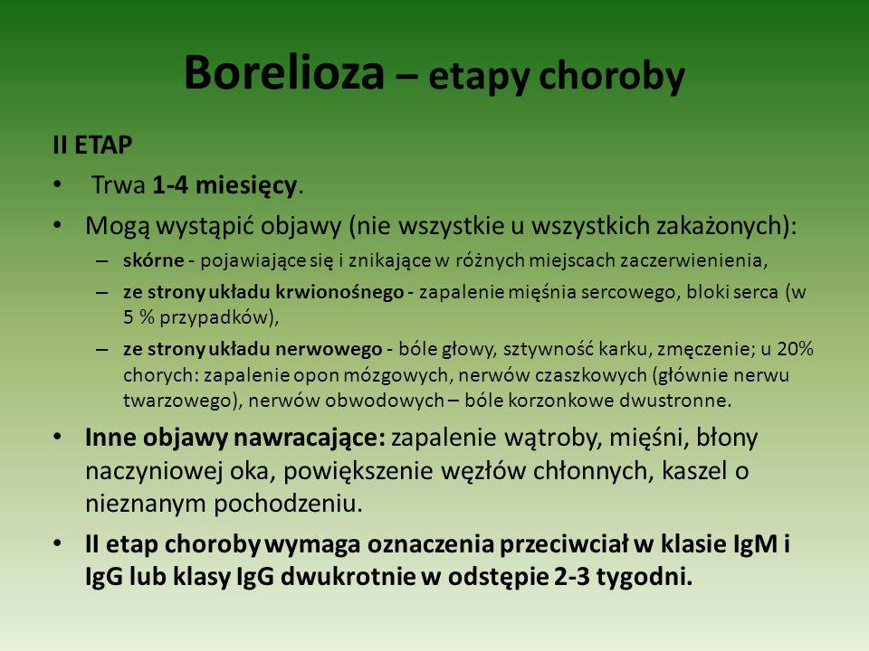 Borelioza – etapy choroby II ETAP Trwa 1-4 miesięcy. Mogą wystąpić objawy (nie wszystkie u wszystkich zakażonych): – skórne - pojawiające się i znikaj
