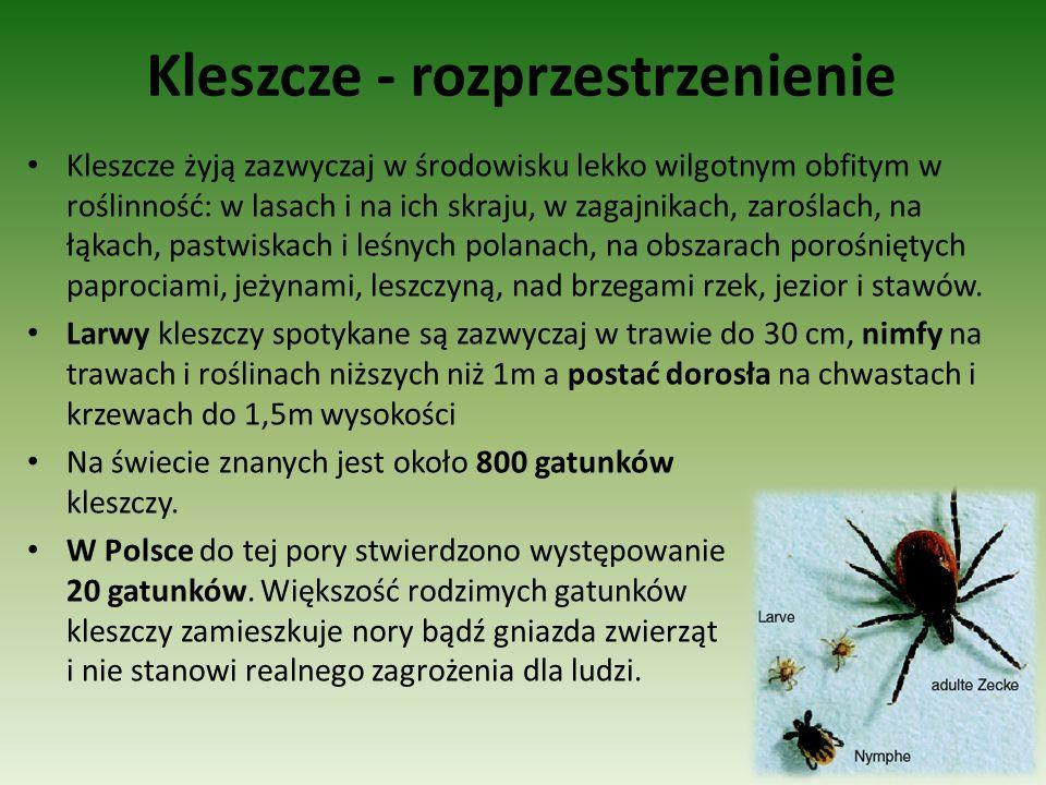 Kleszcze - rozprzestrzenienie Kleszcze żyją zazwyczaj w środowisku lekko wilgotnym obfitym w roślinność: w lasach i na ich skraju, w zagajnikach, zaro
