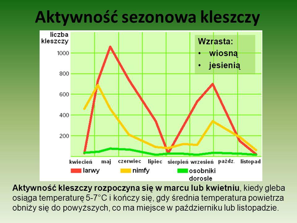Aktywność sezonowa kleszczy Wzrasta: wiosną jesienią Aktywność kleszczy rozpoczyna się w marcu lub kwietniu, kiedy gleba osiąga temperaturę 5-7°C i ko