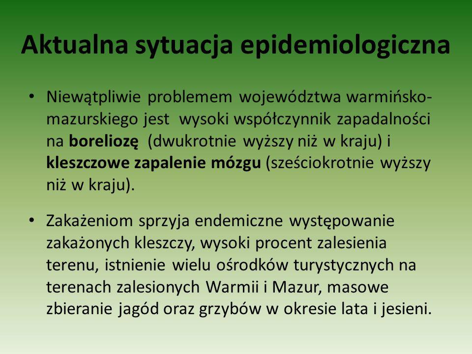 Aktualna sytuacja epidemiologiczna Niewątpliwie problemem województwa warmińsko- mazurskiego jest wysoki współczynnik zapadalności na boreliozę (dwukr