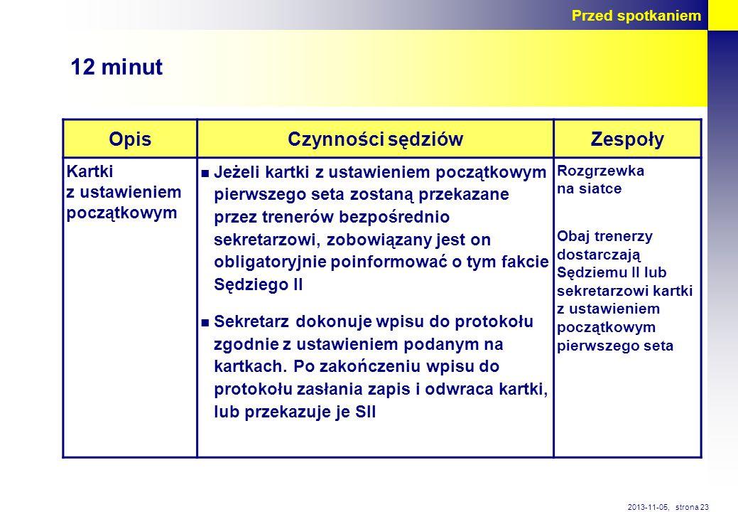 strona 23 2013-11-05, Przed spotkaniem OpisCzynności sędziówZespoły Kartki z ustawieniem początkowym Jeżeli kartki z ustawieniem początkowym pierwszeg