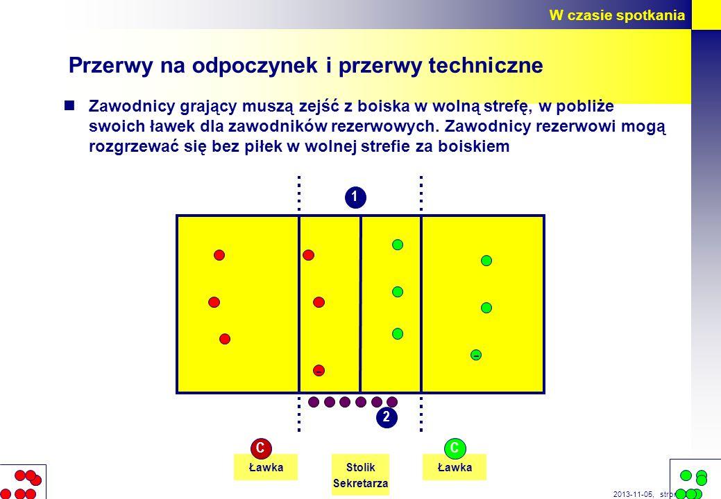 strona 38 2013-11-05, Przerwy na odpoczynek i przerwy techniczne Zawodnicy grający muszą zejść z boiska w wolną strefę, w pobliże swoich ławek dla zaw