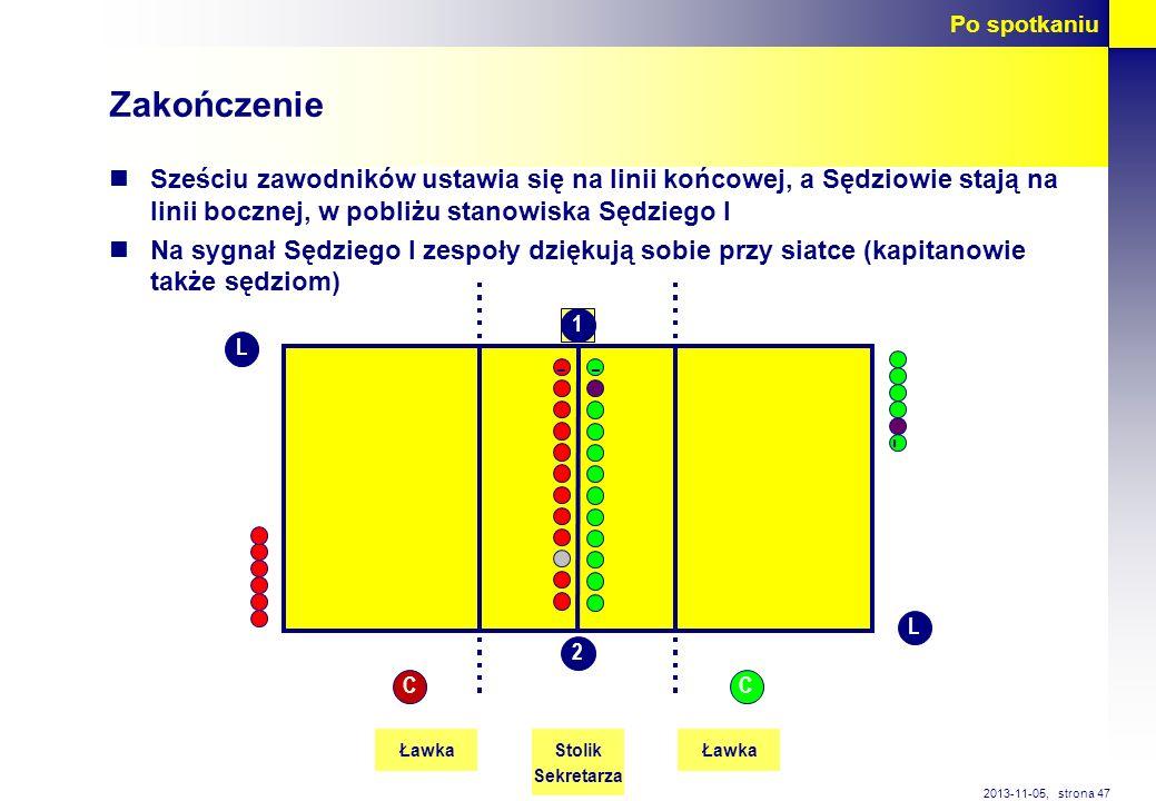strona 47 2013-11-05, Zakończenie Sześciu zawodników ustawia się na linii końcowej, a Sędziowie stają na linii bocznej, w pobliżu stanowiska Sędziego