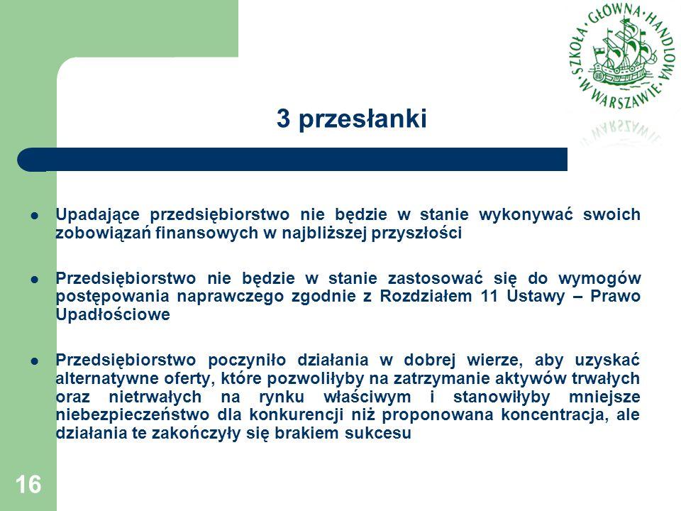 3 przesłanki Upadające przedsiębiorstwo nie będzie w stanie wykonywać swoich zobowiązań finansowych w najbliższej przyszłości Przedsiębiorstwo nie będzie w stanie zastosować się do wymogów postępowania naprawczego zgodnie z Rozdziałem 11 Ustawy – Prawo Upadłościowe Przedsiębiorstwo poczyniło działania w dobrej wierze, aby uzyskać alternatywne oferty, które pozwoliłyby na zatrzymanie aktywów trwałych oraz nietrwałych na rynku właściwym i stanowiłyby mniejsze niebezpieczeństwo dla konkurencji niż proponowana koncentracja, ale działania te zakończyły się brakiem sukcesu 16