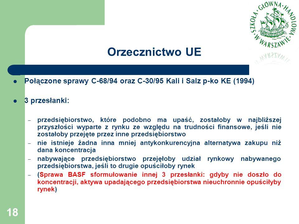 Orzecznictwo UE Połączone sprawy C-68/94 oraz C-30/95 Kali i Salz p-ko KE (1994) 3 przesłanki: – przedsiębiorstwo, które podobno ma upaść, zostałoby w najbliższej przyszłości wyparte z rynku ze względu na trudności finansowe, jeśli nie zostałoby przejęte przez inne przedsiębiorstwo – nie istnieje żadna inna mniej antykonkurencyjna alternatywa zakupu niż dana koncentracja – nabywające przedsiębiorstwo przejęłoby udział rynkowy nabywanego przedsiębiorstwa, jeśli to drugie opuściłoby rynek – (Sprawa BASF sformułowanie innej 3 przesłanki: gdyby nie doszło do koncentracji, aktywa upadającego przedsiębiorstwa nieuchronnie opuściłyby rynek) 18