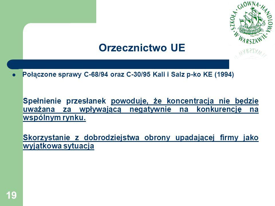 Orzecznictwo UE Połączone sprawy C-68/94 oraz C-30/95 Kali i Salz p-ko KE (1994) Spełnienie przesłanek powoduje, że koncentracja nie będzie uważana za