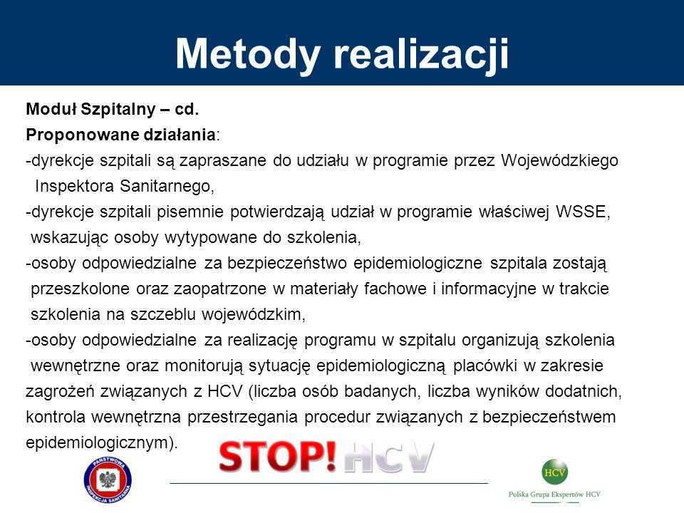 Metody realizacji Moduł Szpitalny – cd. Proponowane działania: -dyrekcje szpitali są zapraszane do udziału w programie przez Wojewódzkiego Inspektora