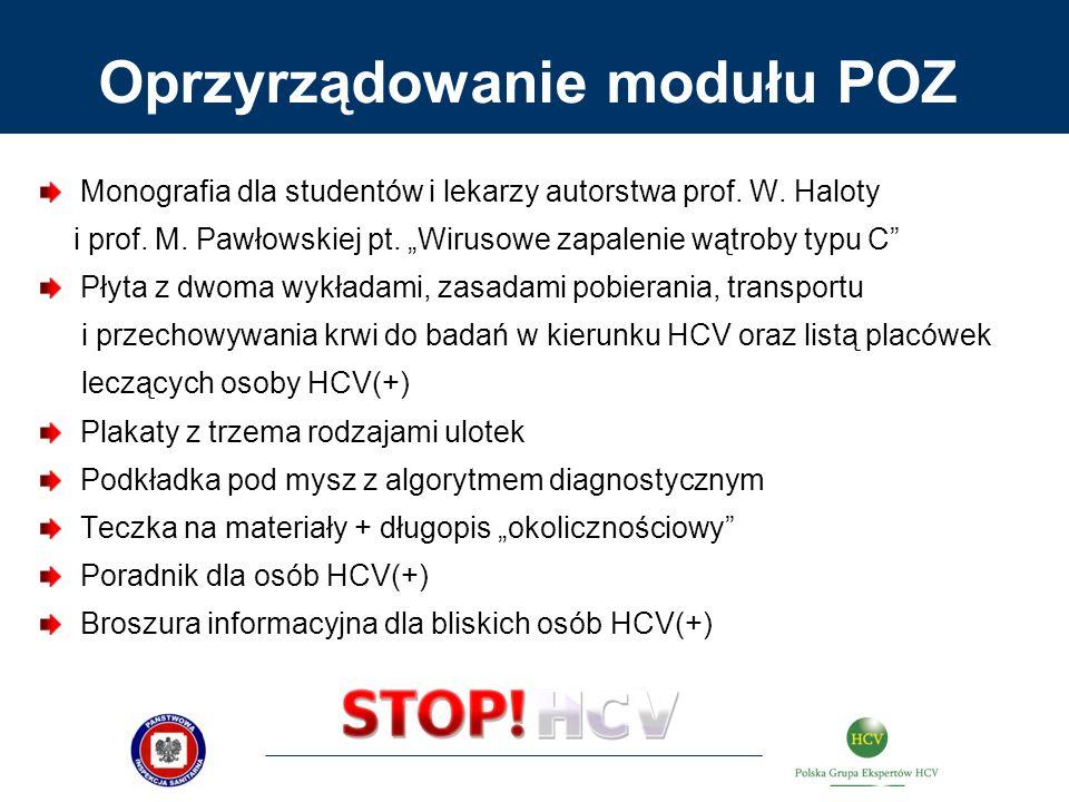 Oprzyrządowanie modułu POZ Monografia dla studentów i lekarzy autorstwa prof. W. Haloty i prof. M. Pawłowskiej pt. Wirusowe zapalenie wątroby typu C P