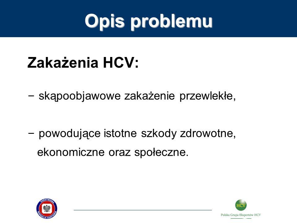 Opis problemu Zakażenia HCV: – skąpoobjawowe zakażenie przewlekłe, – powodujące istotne szkody zdrowotne, ekonomiczne oraz społeczne.