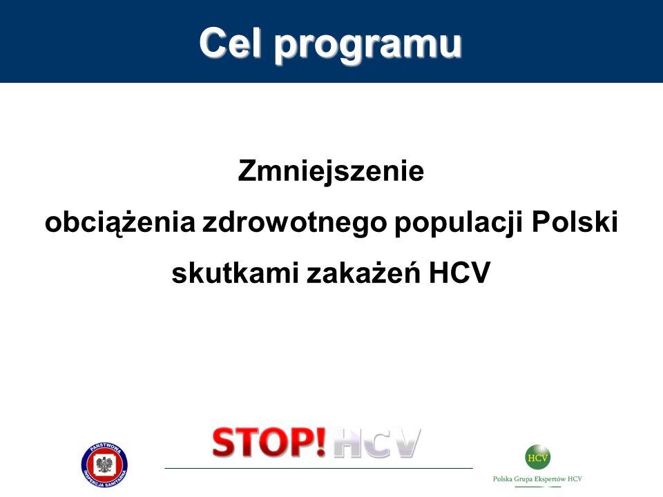 Zmniejszenie obciążenia zdrowotnego populacji Polski skutkami zakażeń HCV Cel programu
