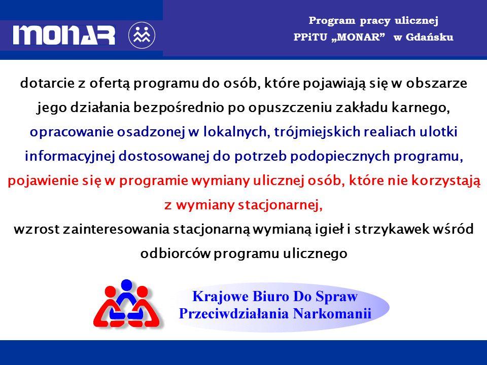PORADNIA PROFILAKTYKI i TERAPII UZALEŻNIEŃ MONAR w Gdańsku Program pracy ulicznej PPiTU MONAR w Gdańsku dotarcie z ofertą programu do osób, które poja