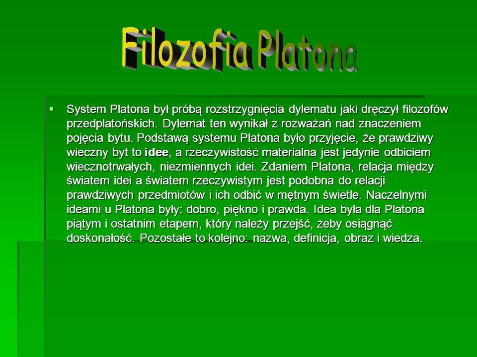 System Platona był próbą rozstrzygnięcia dylematu jaki dręczył filozofów przedplatońskich. Dylemat ten wynikał z rozważań nad znaczeniem pojęcia bytu.
