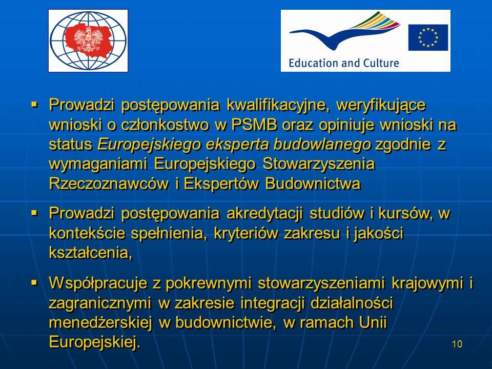 10 Prowadzi postępowania kwalifikacyjne, weryfikujące wnioski o członkostwo w PSMB oraz opiniuje wnioski na status Europejskiego eksperta budowlanego