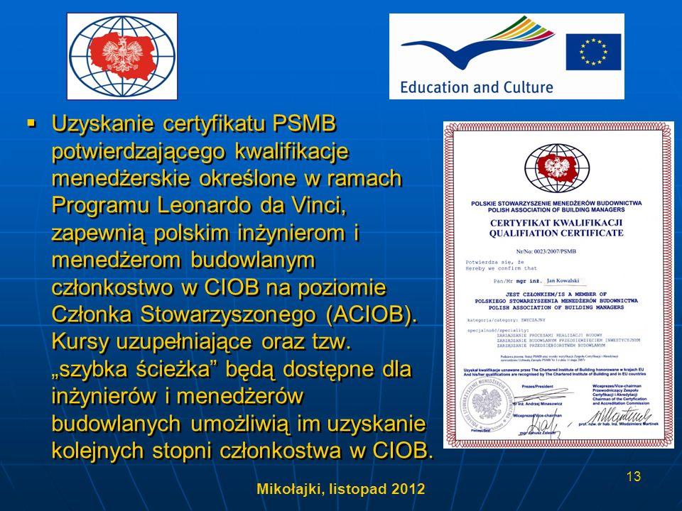 Mikołajki, listopad 2012 13 Uzyskanie certyfikatu PSMB potwierdzającego kwalifikacje menedżerskie określone w ramach Programu Leonardo da Vinci, zapew