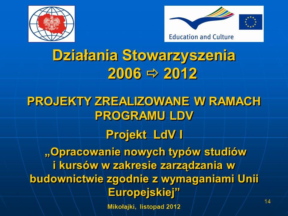 Mikołajki, listopad 2012 14 Opracowanie nowych typów studiów i kursów w zakresie zarządzania w budownictwie zgodnie z wymaganiami Unii Europejskiej PR
