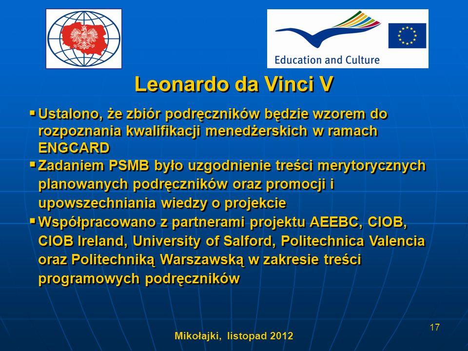 Mikołajki, listopad 2012 17 Ustalono, że zbiór podręczników będzie wzorem do rozpoznania kwalifikacji menedżerskich w ramach ENGCARD Zadaniem PSMB był