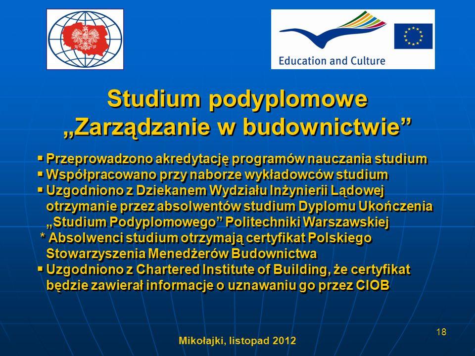 Mikołajki, listopad 2012 18 Przeprowadzono akredytację programów nauczania studium Współpracowano przy naborze wykładowców studium Uzgodniono z Dzieka