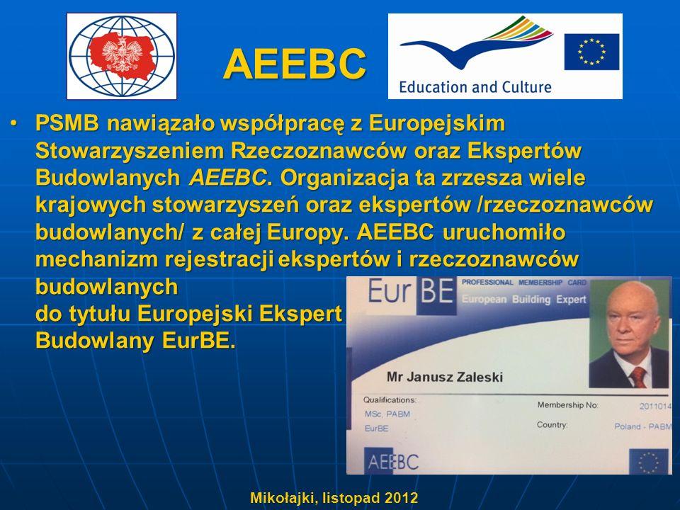 AEEBC PSMB nawiązało współpracę z Europejskim Stowarzyszeniem Rzeczoznawców oraz Ekspertów Budowlanych AEEBC. Organizacja ta zrzesza wiele krajowych s