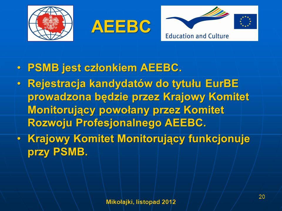 AEEBC PSMB jest członkiem AEEBC.PSMB jest członkiem AEEBC. Rejestracja kandydatów do tytułu EurBE prowadzona będzie przez Krajowy Komitet Monitorujący