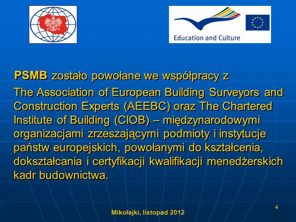 Mikołajki, listopad 2012 15 Model struktury kwalifikacji zawodowych oraz systemu promocji, certyfikacji i uznawania umiejętności kadr menedżerskich w budownictwie, zgodny ze standardami Unii Europejskiej Projekt LdV III
