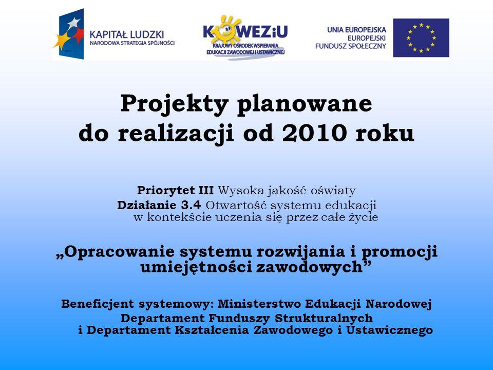 Projekty planowane do realizacji od 2010 roku Priorytet III Wysoka jakość oświaty Działanie 3.4 Otwartość systemu edukacji w kontekście uczenia się pr