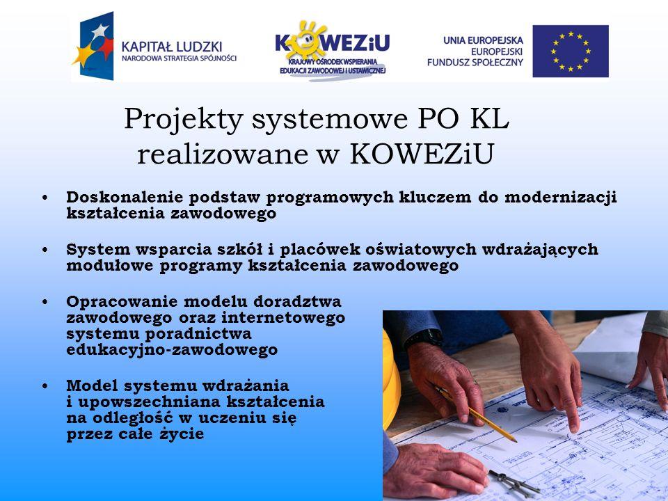 Projekty systemowe PO KL realizowane w KOWEZiU Doskonalenie podstaw programowych kluczem do modernizacji kształcenia zawodowego System wsparcia szkół
