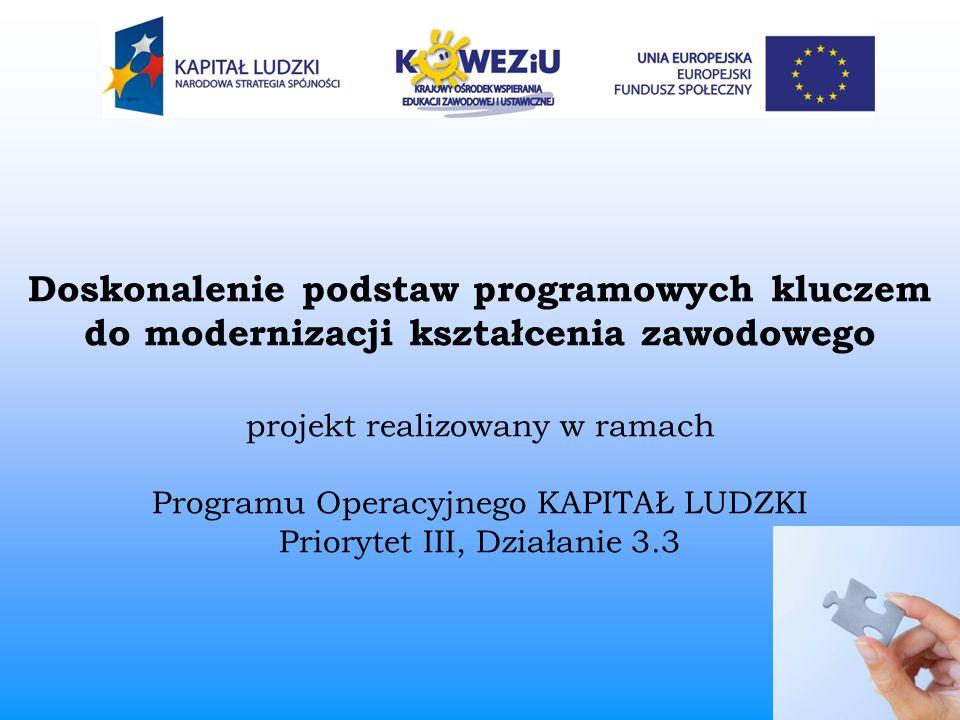 Doskonalenie podstaw programowych kluczem do modernizacji kształcenia zawodowego projekt realizowany w ramach Programu Operacyjnego KAPITAŁ LUDZKI Pri