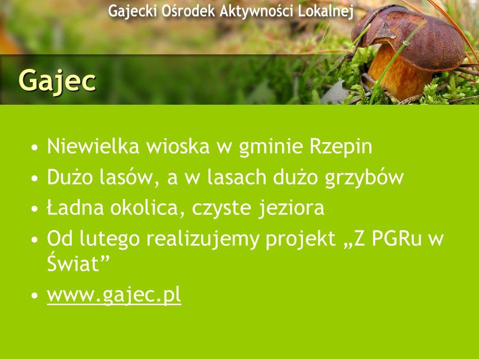 Gajec Niewielka wioska w gminie Rzepin Dużo lasów, a w lasach dużo grzybów Ładna okolica, czyste jeziora Od lutego realizujemy projekt Z PGRu w Świat
