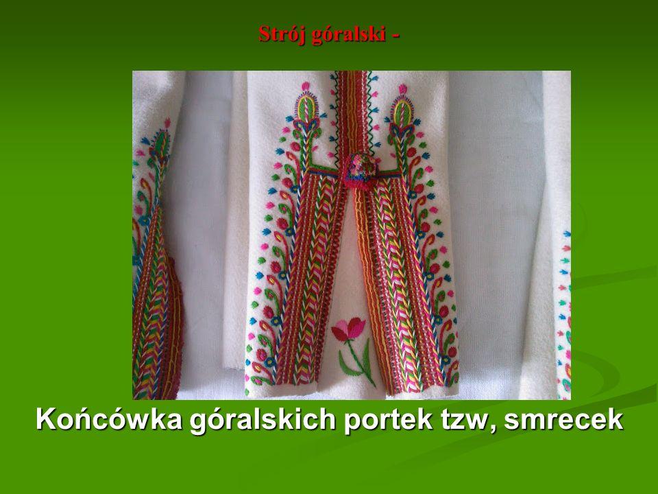 Strój góralski - Górna część portek z różnymi ornamentami roślinnymi - tu dziewięciosił