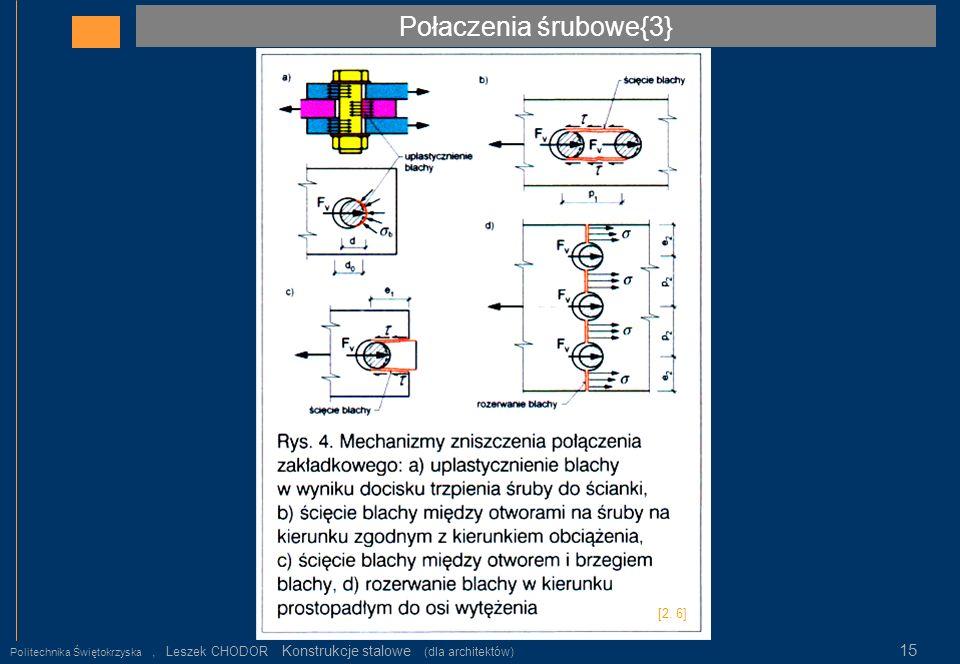 Połaczenia śrubowe{3} Politechnika Świętokrzyska, Leszek CHODOR Konstrukcje stalowe (dla architektów) 15 [2. 6]