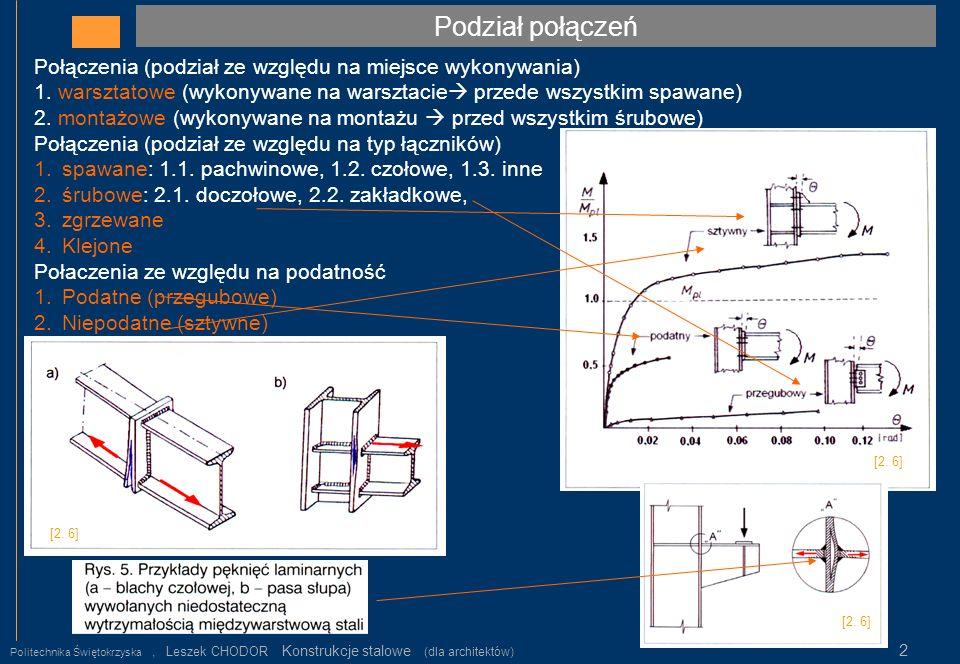 Podział połączeń Politechnika Świętokrzyska, Leszek CHODOR Konstrukcje stalowe (dla architektów) 2 Połączenia (podział ze względu na miejsce wykonywan