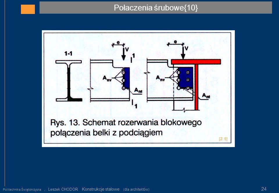Połaczenia śrubowe{10} Politechnika Świętokrzyska, Leszek CHODOR Konstrukcje stalowe (dla architektów) 24 [2. 6]